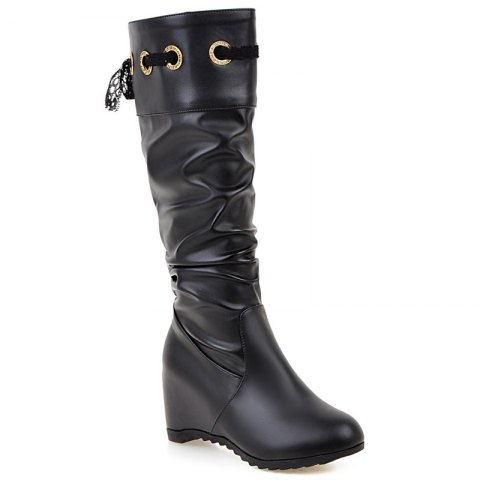 Hidden Wedge Tie Up Boots - BLACK 38