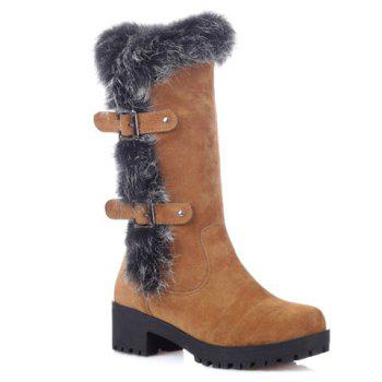 Fashionable Faux Fur and Flock Design Mid-Calf Boots For Women