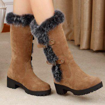 Fashionable Faux Fur and Flock Design Mid-Calf Boots For Women - BROWN 34