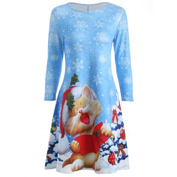 Kitten Snowflake Print Swing Dress