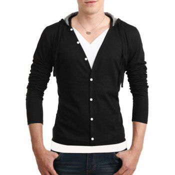 Button Fly Long Sleeves Hooded T-Shirt