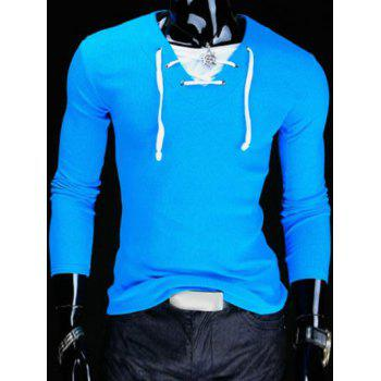 Slimming V-Neck Stylish Drawstring Faux Twinset Long Sleeve Polyester Men's T-Shirt
