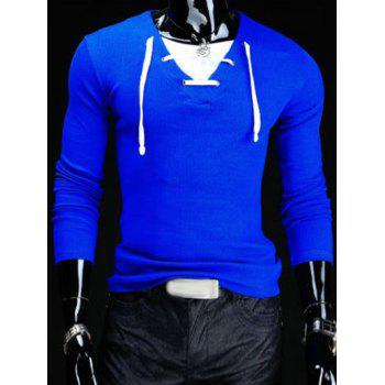 Slimming V-Neck Stylish Drawstring Faux Twinset Long Sleeve Polyester Men's T-Shirt - SAPPHIRE BLUE SAPPHIRE BLUE