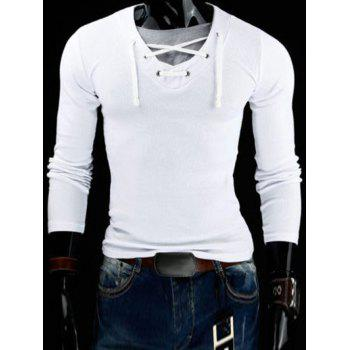 2017 slimming v neck stylish drawstring faux twinset long for Polyester t shirts for men