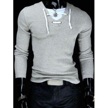 Slimming V-Neck Stylish Drawstring Faux Twinset Long Sleeve Polyester Men's T-Shirt - LIGHT GRAY M