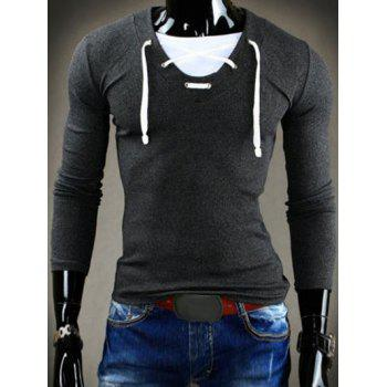 Slimming V-Neck Stylish Drawstring Faux Twinset Long Sleeve Polyester Men's T-Shirt - DEEP GRAY DEEP GRAY