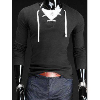 Slimming V-Neck Stylish Drawstring Faux Twinset Long Sleeve Polyester Men's T-Shirt - BLACK M