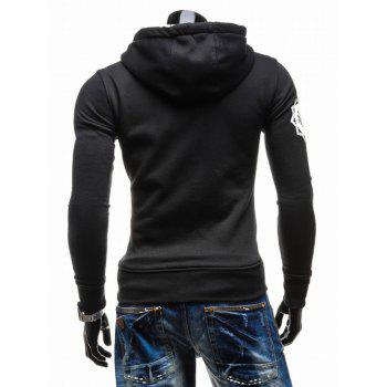 Hooded Zip-Up imprimé graphique Emboss Hoodie - Noir M