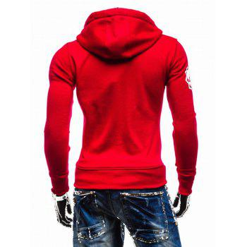 Hooded Zip-Up imprimé graphique Emboss Hoodie - Rouge M