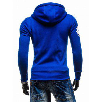 Hooded Zip-Up imprimé graphique Emboss Hoodie - Bleu XL