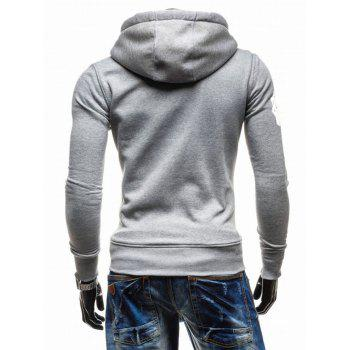 Hooded Zip-Up imprimé graphique Emboss Hoodie - Gris Clair L