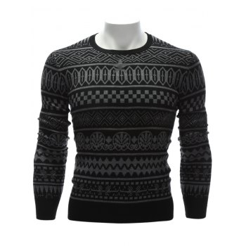Ethnic Style Geometric Graphic Crew Neck Sweater