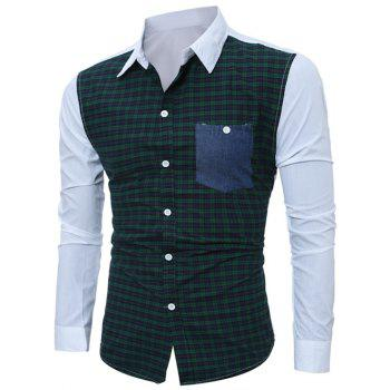 Tartan Splicing Long Sleeve Pocket Shirt