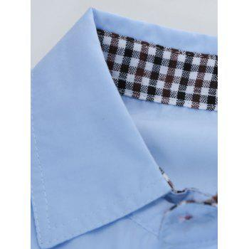 Plaid Edging Spliced Long Sleeve Pocket Shirt - LAKE BLUE 2XL