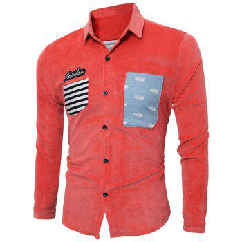 Long Sleeve Stripe Appliques Corduroy Shirt