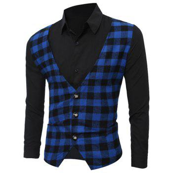 Long Sleeve Faux Twinset Checked Vest Spliced Shirt