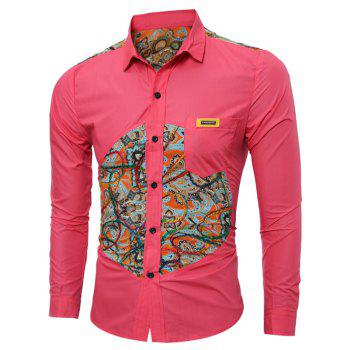Long Sleeve Colorful Floral Spliced Pocket Shirt