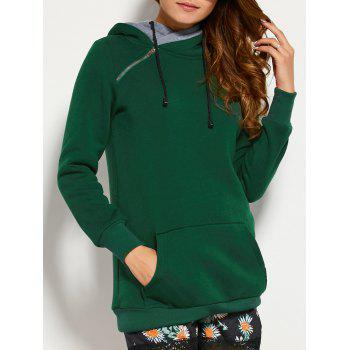 Double Hooded Drawstring Hoodie with Front Pocket