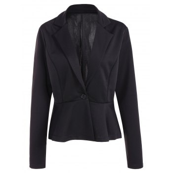 Fitted One Button Jacket Peplum Blazer - BLACK XL
