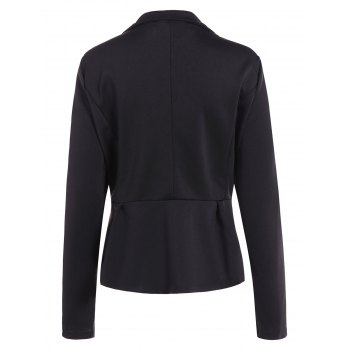Fitted One Button Jacket Peplum Blazer - XL XL