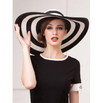 Summer Sunscreen Stripe Bowler Straw Sun Hat