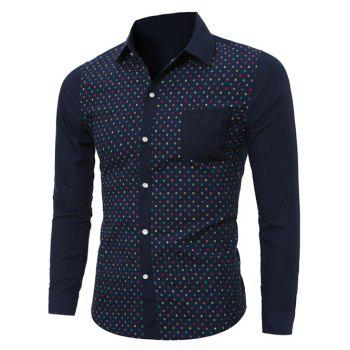 Buy Color Block Square Print Long Sleeve Pocket Shirt CADETBLUE