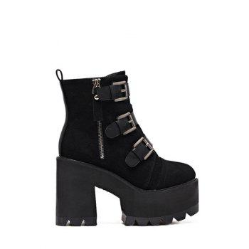 Suede Triple Buckles Chunky Heel Boots