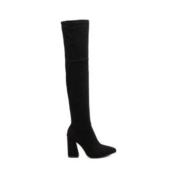 Suede Chunky Heel Pointed Toe Thigh Boots
