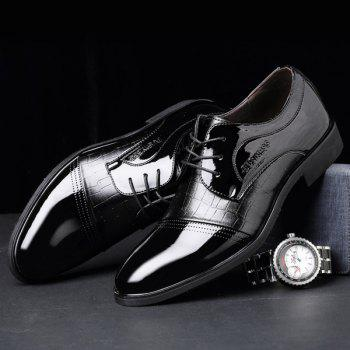 Patent Leather Panel Crocodile Pattern Formal Shoes - BLACK 42
