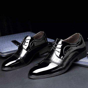 Patent Leather Panel Crocodile Pattern Formal Shoes - BLACK 40