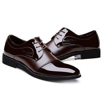 Patent Leather Panel Crocodile Pattern Formal Shoes - 44 44