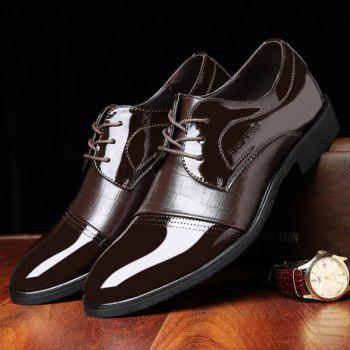 Patent Leather Panel Crocodile Pattern Formal Shoes - BROWN BROWN
