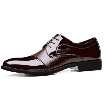Patent Leather Panel Crocodile Pattern Formal Shoes - BROWN 40