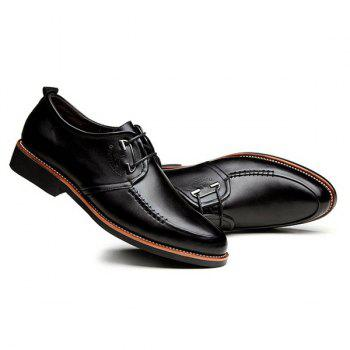Stitching PU Leather Formal Shoes - BLACK 43
