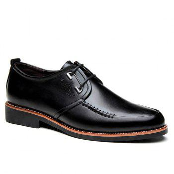 Stitching PU Leather Formal Shoes - BLACK BLACK