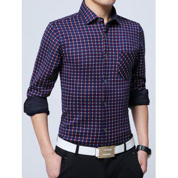 Flocking Button Up Gingham Shirt - RED RED