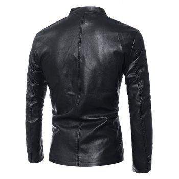 Simple Stand Collar Zip Up PU Leather Jacket - M M
