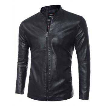 Simple Stand Collar Zip Up PU Leather Jacket - BLACK 3XL