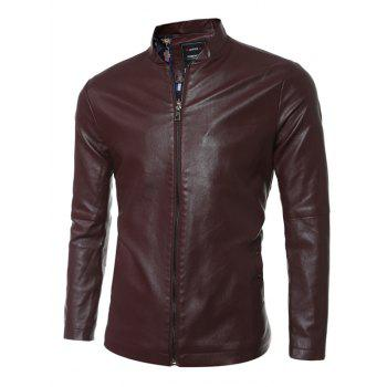 Simple Stand Collar Zip Up PU Leather Jacket - DEEP BROWN M