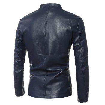Simple Stand Collar Zip Up PU Leather Jacket - L L