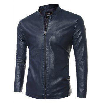 Simple Stand Collar Zip Up PU Leather Jacket - BLUE 3XL