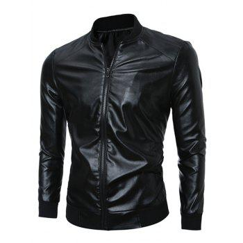 Stand Collar Zip Up Rib Splicing PU Leather Jacket - BLACK M