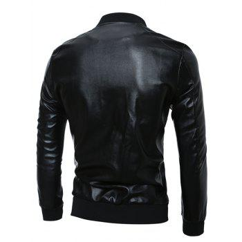 Stand Collar Zip Up Rib Splicing PU Leather Jacket - M M