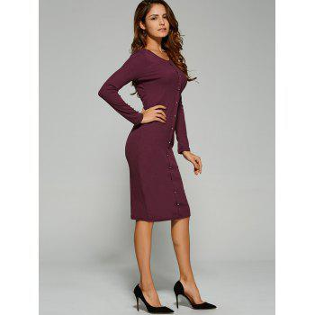 Long Sleeve Button Up Knit Sheath Dress - BORDEAUX BORDEAUX