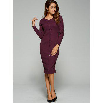 Long Sleeve Button Up Knit Sheath Dress - BORDEAUX L