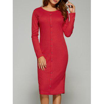 Long Sleeve Button Up Knit Sheath Dress - RED RED