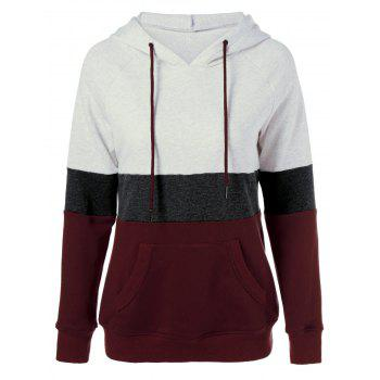 Plus Size Color Block Hoodie - COLORMIX COLORMIX