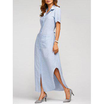 Summer Vertical Striped Maxi Shirt Dress