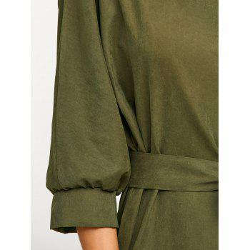 Asymmetric Casual Wrap Midi Dress with Belt - ARMY GREEN ARMY GREEN
