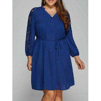 Plus Size Lace Sleeve Shirt Dress